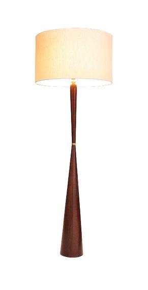 "Floor lamp - retro modern but warm. Lamp: 5'H, Shade: 10""H x 15""W"