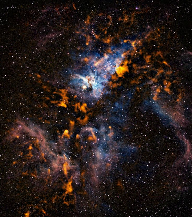 Observations made with the APEX telescope  reveal the cold dusty clouds from which stars form in the Carina Nebula. The nebula contains stars equivalent to over 25 000 Suns, and the total mass of gas and dust clouds is that of about 140 000 Suns.  - Image Credit: ESO/APEX/T. Preibisch et al.