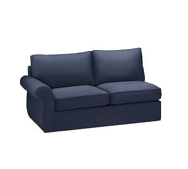 Pearce Slipcovered Left Arm Love Seat Sleeper, Polyester Wrapped Cushions, Twill Cadet Navy
