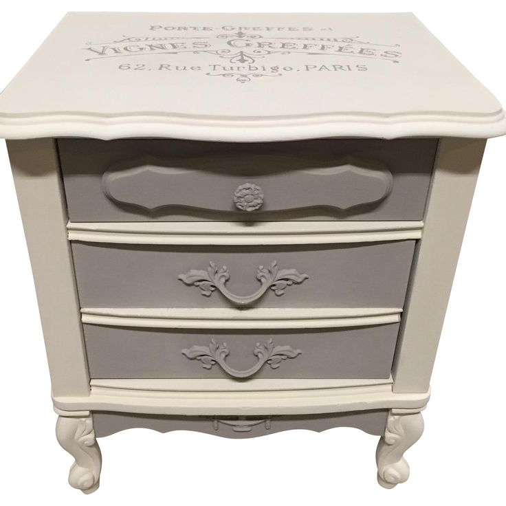 Vintage French Provincial White & Gray Nightstand | Chairish