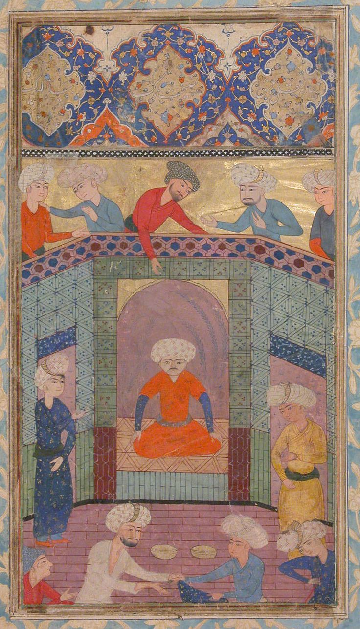 """""""A Ruler in his Palace"""", Folio from a Kulliyat (Complete Works) of Sa'di  Author:Sa'di (1213/19–92) Object Name:Folio from an illustrated manuscript Date:19th century Geography:Attributed to Iran, Tabriz Medium:Ink, opaque watercolor, and gold on paper Dimensions:Painting: H. 9 in. (22.9 cm) W. 5 in. (12.7 cm) Page: H. 15 3/4 in. (40 cm) W. 8 1/2 in. (21.6 cm) Mat:: H. 19 1/4 in. (48.9 cm) W. 14 1/4 in. (36.2 cm)"""