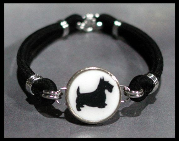 SCOTTISH TERRIER Silhouette Scotty Dog Breed Dime Stretch Bracelet - One size fits most - Made In USA