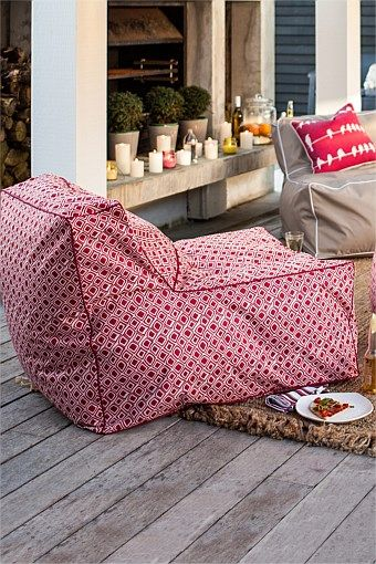 Indoor & Outdoor Furniture - Indoor/Outdoor Bean Bag Chair - EziBuy New Zealand. Not sure about the pattern but like the idea. $70
