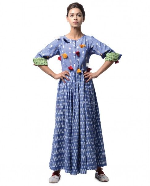 Blue Long Ikat Dress with Tassels - KA SHA - Designers