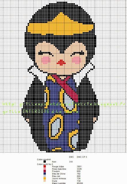 Disney Evil Queen Kokeshi pattern by grilles point de croix et cie