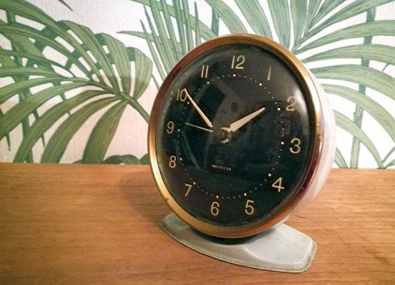 Mid century Westclox bedside alarm clock, Mid century modern table clock, Vintage clock, Westclox vintage alarm clock, 60s  wind up clock
