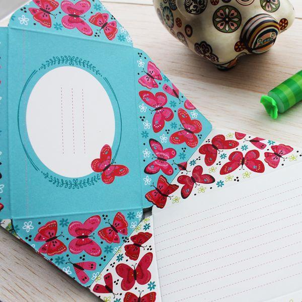 Hojas Block para mensajes pequeño mariposas. Disponible en www.hojas.com.co