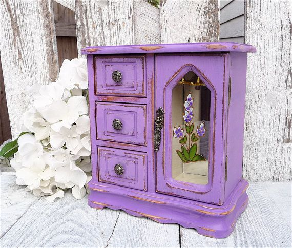 Hey, I found this really awesome Etsy listing at https://www.etsy.com/listing/168034776/purple-shabby-chic-jewelry-box-armoire