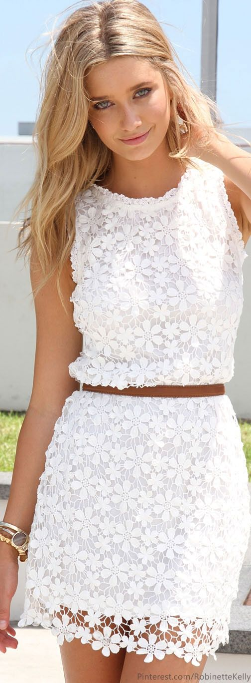 Gorgeous white lace shift dress! #summerstyle #dresses someday I'll be comfortable enough to dress like this daily!