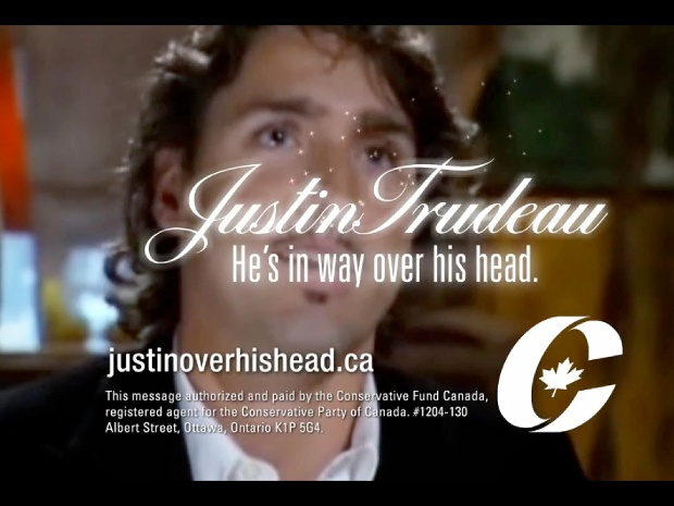 A framegrab from a new Conservative party ad attacking Justin Trudeau, the new leader of the Liberal Party of Canada.