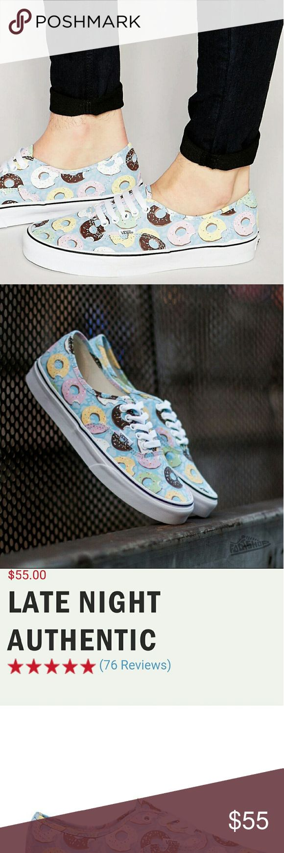 Vans late night authentic Donuts sneakers BNWT Vans donuts tennis shoes Much cuter in person Box included  I have a size 7 and size 8 Vans Shoes Sneakers
