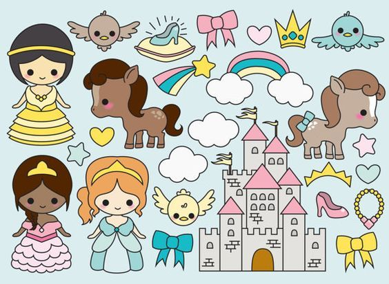 High quality vector clipart. Kawaii Magical Princess vector clip art. Cute princesses clipart set. Kawaii clipart! This set features kawaii little princesses, ponies, kawaii little birds, crowns, princess slippers, a castle and more! Perfect for creating greeting cards, invitations, gift wrap and stationery, decorating your blog or website, designing posters and room decor. Can be used for digital or print. Great for gift cards and wrapping paper, scrapbooking and blogs or websites.  These…