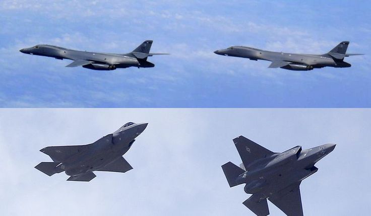 In this combination of file photos, top: U.S. Air Force B-1B Lancer bombers fly over Japan on July 8, 2017, in this photo released by the Joint Staff Office of the Defense Ministry of Japan; and two U.S. Air Force F-35 jets arrive at Hill Air Force Base in Utah, on Sept. 2, 2015. Two U.S. B-1B supersonic bombers and four F-35 stealth fighter jets joined four South Korean F-15 fighters in live-fire exercises at a military field in eastern South Korea that simulated precision strikes against…