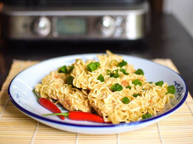 Waffling ramen breathes new life into an old standby. The dish retains the familiarity of the wavy instant noodles and takes on a new texture from the waffle iron, becoming at turns crispy and soft.\n