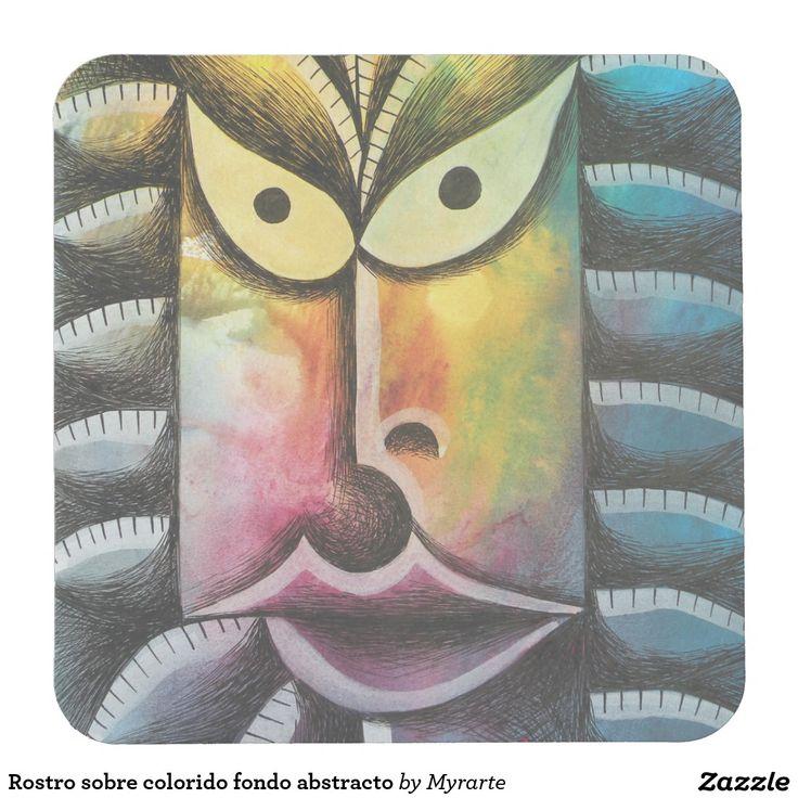 Rostro sobre colorido fondo abstracto square paper coaster. Producto disponible en tienda Zazzle. Decoración para el hogar. Product available in Zazzle store. Home decoration. Regalos, Gifts. #posavaso #coaster #rostro #face