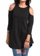 Черная блузка с открытыми плечами Rotita