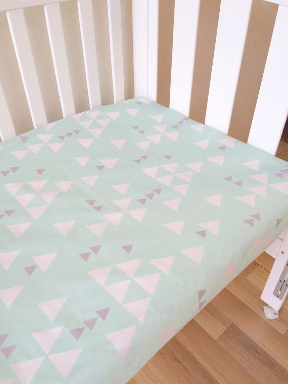 Mint and grey falling triangle - modern Fitted Cot Sheet, Crib Sheet, Nursery Fitted sheet, gray, geometric,