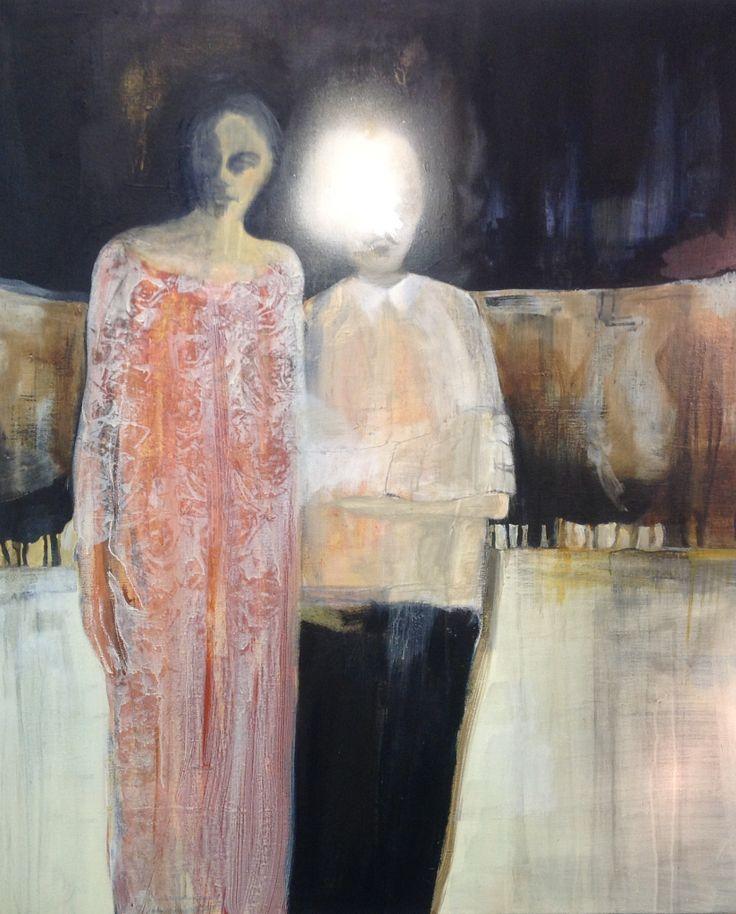 Cathrine Boman - Nå står liksom jeg her ved siden av deg, Acryl på lerret, 120 x 100 cm