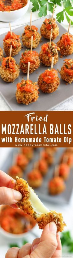 These deep fried mozzarella balls with homemade tomato sauce are perfect for any party. Crispy on the outside, juicy on the inside and simply delicious. Quick and easy party food ideas. Deep fried mozzarella balls via @happyfoodstube