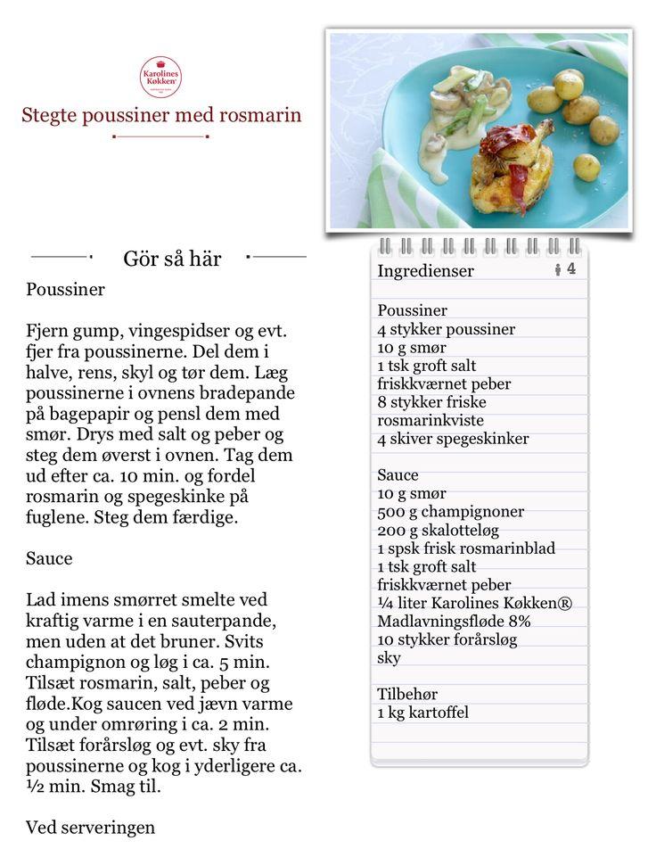 Jeg laver Stegte poussiner med rosmarin fra Karolines Køkken