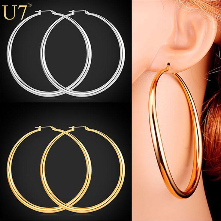 U7 ronda pendientes de las esposas del baloncesto de moda chapado en oro de joyería de moda al por mayor grande 2 tamaño de los pendientes del aro mujeres e424