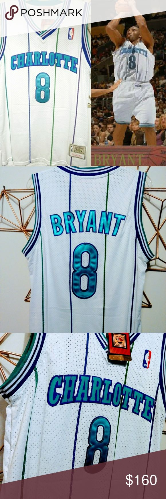 1996 Draft Kobe Bryant Charlotte Hornets Jersey Size: Medium  For those that don't know, Kobe Bryant was selected 13th overall by the Charlotte Hornets in the 1996 NBA Draft.  Jersey is mesh and lettering is stitched. Great for any collector or Kobe Bryant fan. Mitchell & Ness Shirts Tank Tops