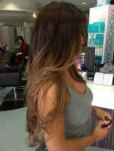Dark brown hair caramel ombre