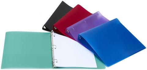 Storex Poly binder. The strong yet flexible polypropylene construction lets you stuff the binder in backpacks or briefcases without creases or tears while keeping contents easily identifiable. Flexible - fits in backpacks with ease Color coded for easy identification Will not tear, fray or peel Contains a dirt repellant additive to avoid transferring ink and toner Dish washer safe PVC and BPA Free Ring Type: O-Ring Item Dimensions: 9.875 L x 1.5 W x 11.125 H 0.275833333333333 lbs.