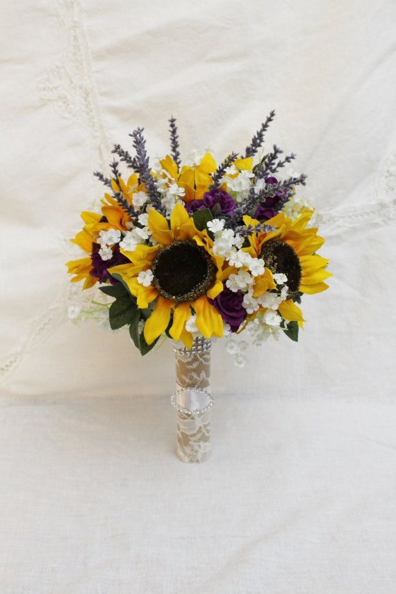 Sunflower Bouquet Rustic Wedding Bouquet Rustic by FabbCreations