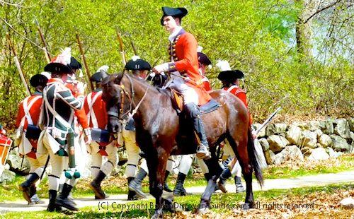Reenactment of Colonial militia during Patriots Day celebration near Boston