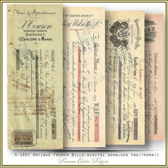 1897 Antique French Bills Instant download PNG by DeannaCartea
