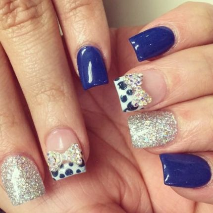 109 best studs and 3d nail art images on pinterest 3d nails art the rhinestone bows really tie this whole look by thehautespot together prinsesfo Image collections