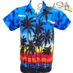 Blue Hawaiian Shirt Plus Size Tropical Aloha Party costume