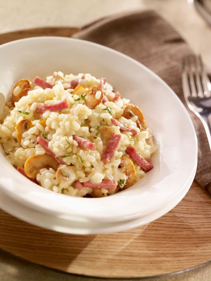 Risotto bacon champignon, très simple et bon