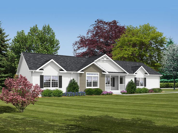 Ranch home exteriors good play up symmetry with ranch for Ranch homes with vinyl siding