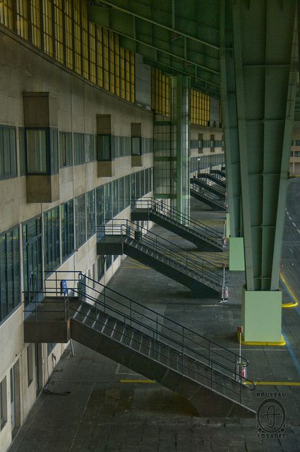 A peek in the old building. Photograph by Nouveau Voyages, Berlin Tempelhof Airport