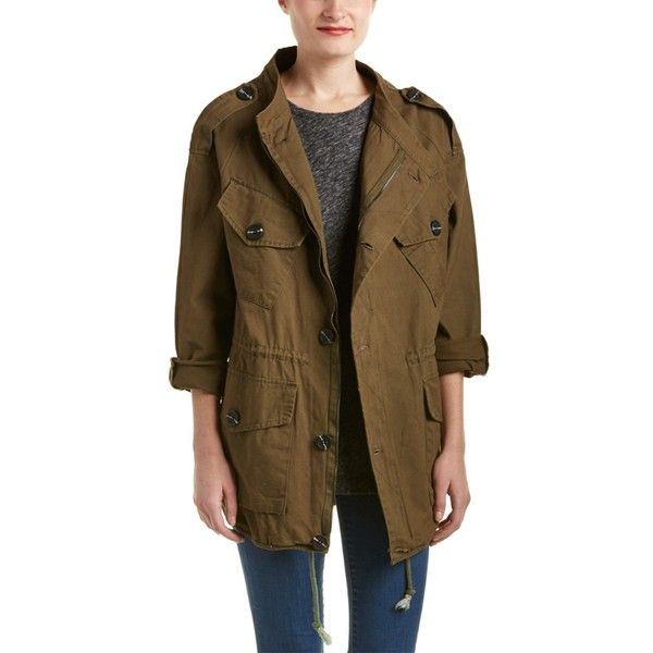 Dance & Marvel Dance & Marvel Cargo Army Coat | Bluefly.Com ($32) ❤ liked on Polyvore featuring outerwear, coats, green, print coat, button coat, embroidered coat, army coat and army green coat