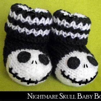 Nightmare Skull Baby Booties Knitting Pattern