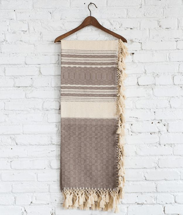 taupe striped woven throw blanket