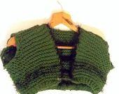 Bolerino scalda spalle in pura lana verde scuro e lana a pelo lungo nero : Maglie, gilet di blanka-artigianatoresistente