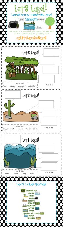 First Grade Blue Skies: Label It! Landforms, Habitats, and Seasons (Freebie and Giveaway)