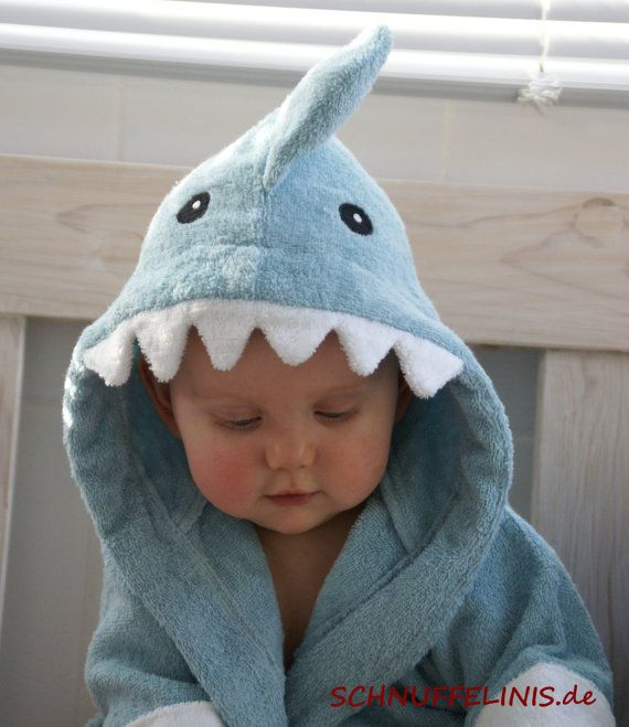 hooded towel shark blue shark in blue and pink by Schnuffelinis