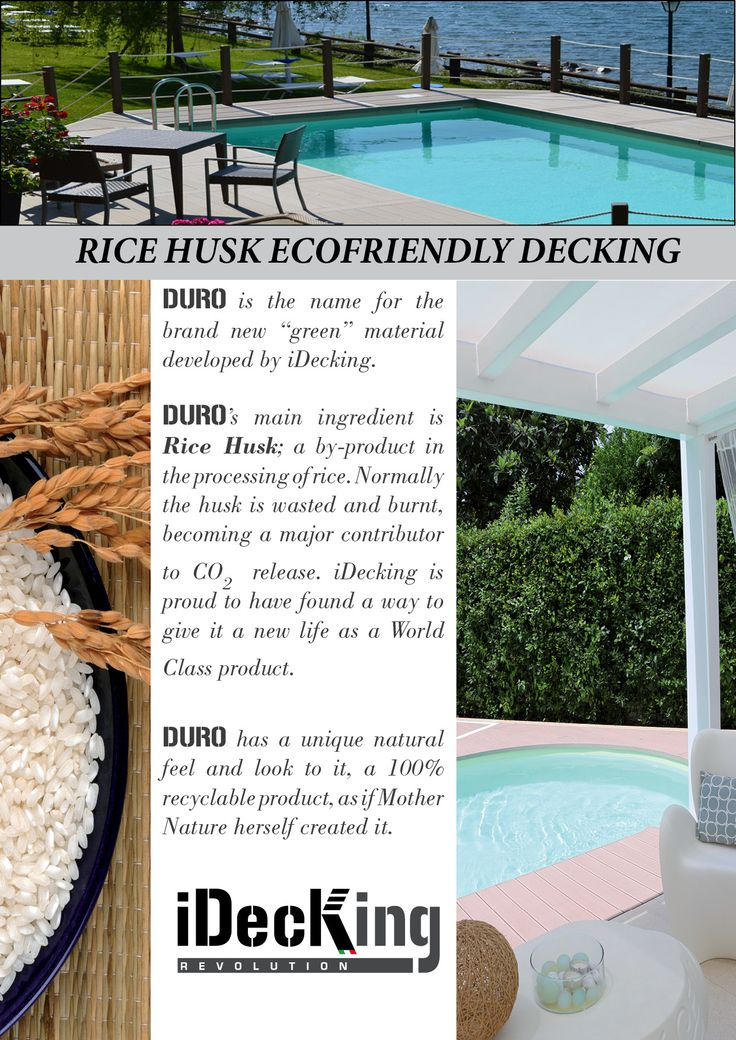 www.idecksystems.com - DURO DECKING BOARDS made of Rice Husk. EcoFriendly and Natural feeling. High Performance Innovative Material