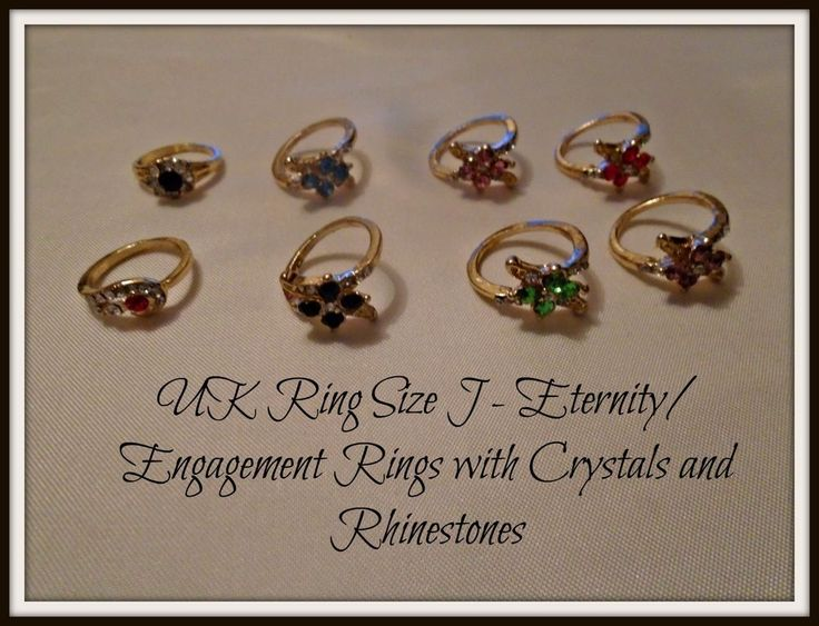 Engagement Eternity Rings - Gold Plated - Crystals & Rhinestones - UK Size J NEW