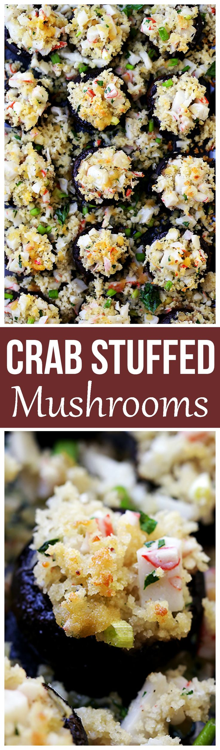Crab Stuffed Mushrooms - Packed with crab meat and drizzled with garlic butter sauce, these delicious stuffed mushrooms are so easy to prepare, and they make for the perfect appetizer!