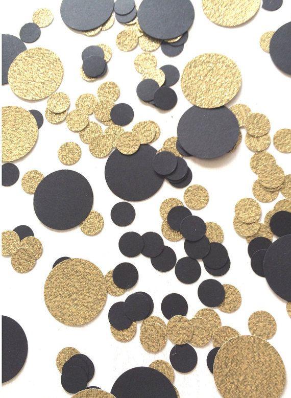 1000 Black & Gold Confetti Circle Confetti New by ConfettiGirls