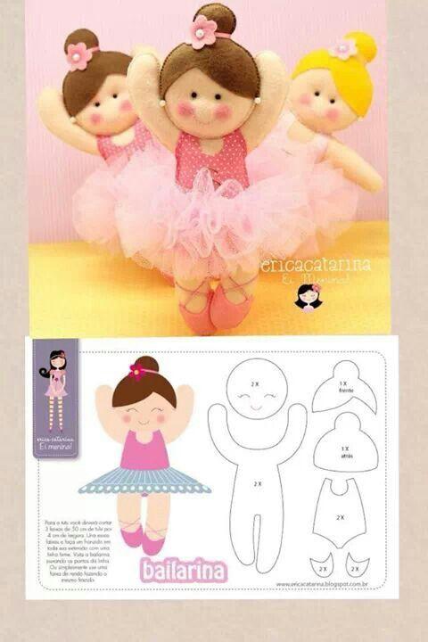 girl dancer felt doll and pattern