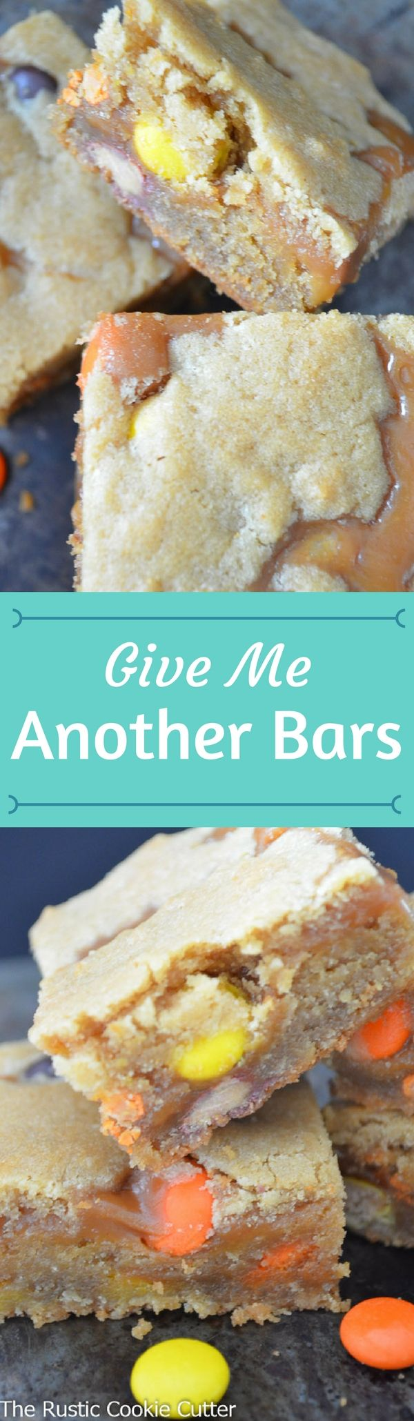 Give Me Another Bars are chock full of peanut butter in all the right ways! Chewy peanut butter cookie bar with ooey, gooey peanut butter caramel filling! #homemade #peanutbutter #caramel #bars