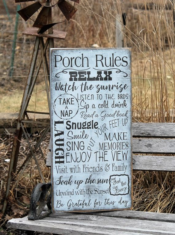 Porch Rules Sign primitive Typography Word Art Sign by Wildoaks