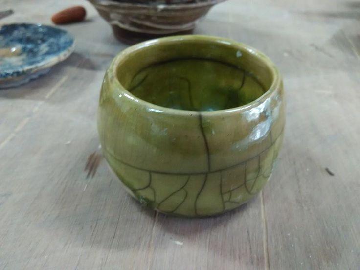 green raku glaze chawan by Devina DP2015. March2017